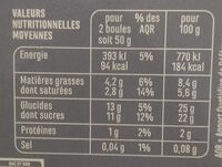 Crème glacée Vanille - A la vanille de Madagascar - Informations nutritionnelles - fr