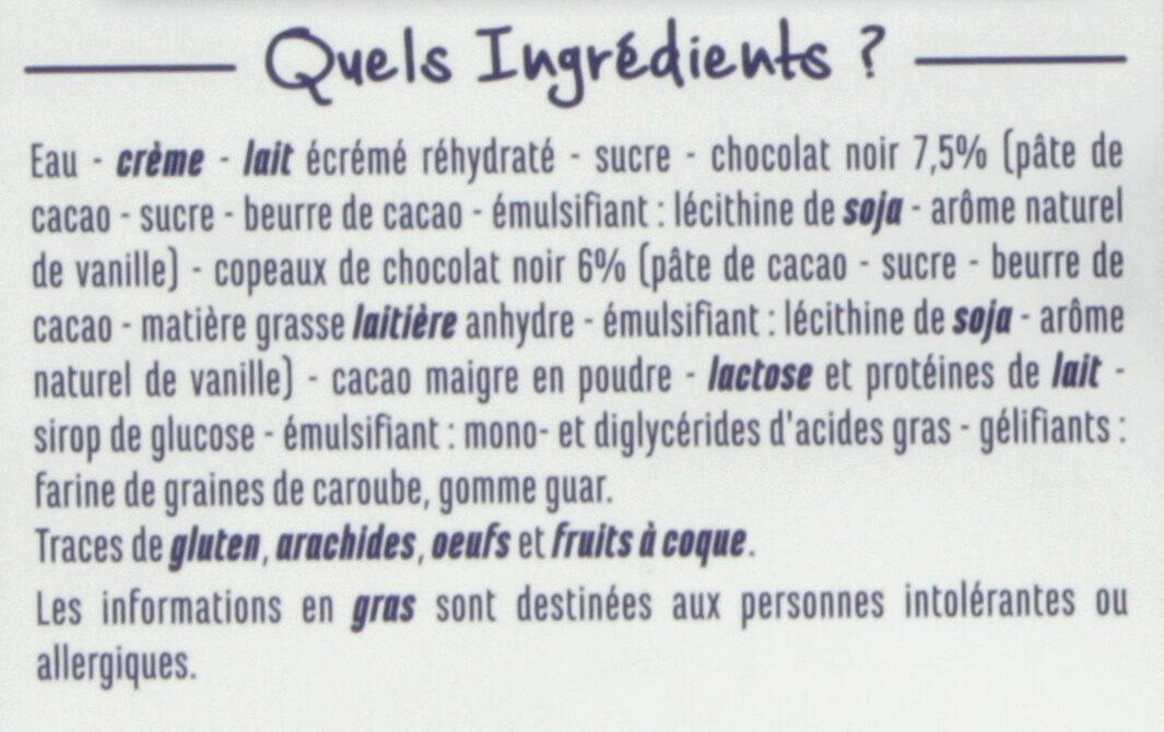 Crème glacée Chocolat - Copeaux de chocolat noir - Ingredients