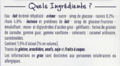 Crème glacée Rhum raisins - Raisins macérés au rhum - Ingrédients