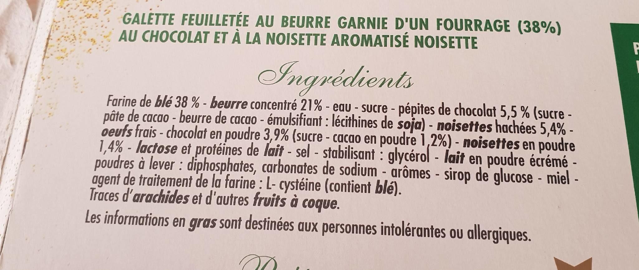 Galette des rois chocolat-noisette - Ingrédients
