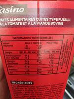 Box fusilli bolognaise - Informations nutritionnelles