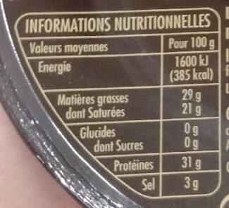 Dés de mimolette vieille - Affinage 12 mois minimum - Nutrition facts
