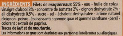 Filets de maquereaux sauce escabèche - Ingrédients