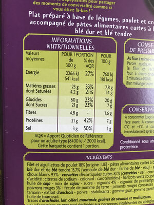 Pâtes Thaï - Nutrition facts