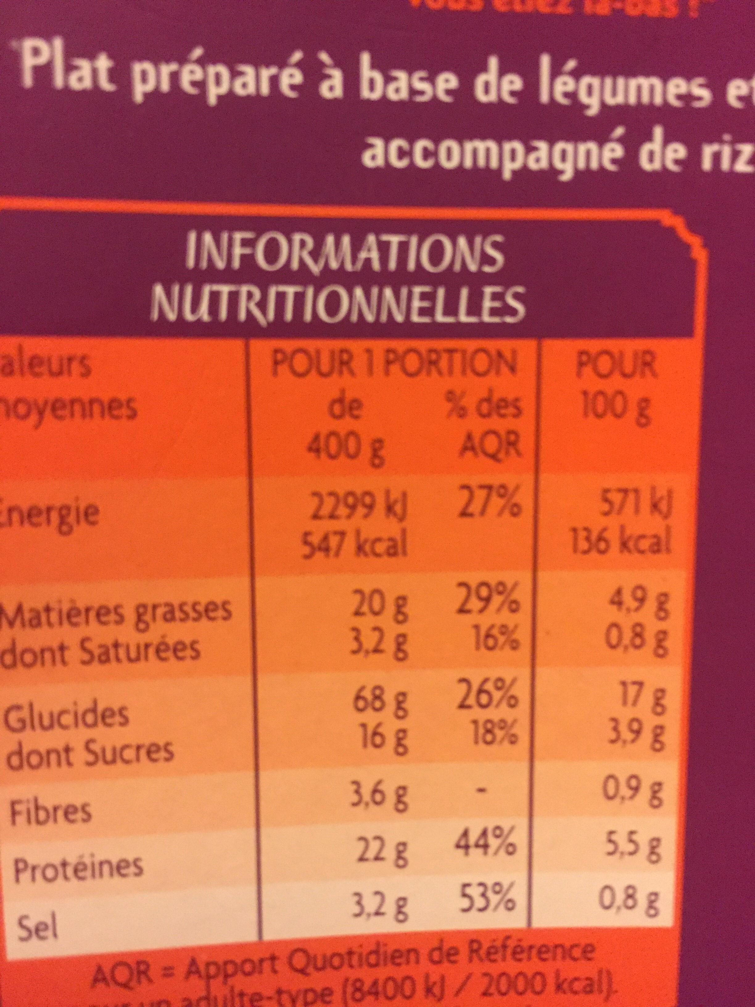 Wok de légumes sautés au poulet et son riz basmati - Nutrition facts