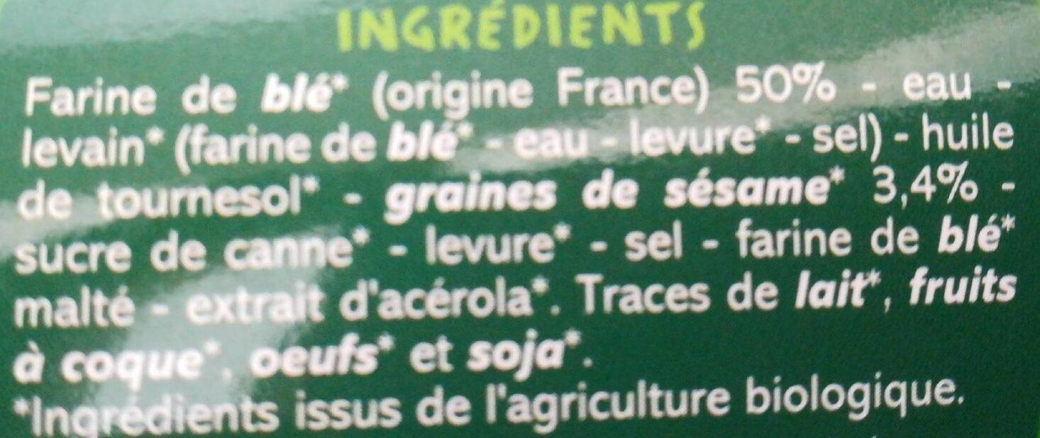Pain burger x2 Bio - Ingrédients - fr