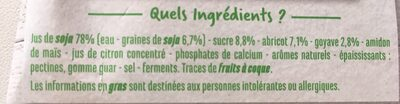 Specialite au soja abricot goyave - Ingrédients
