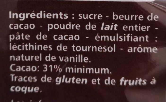 Kit à cacher chocolat au lait - Ingredienti - fr