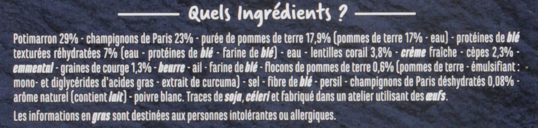 VEGGIE et gourmand hachis potimarron et champignons - Ingredients - fr