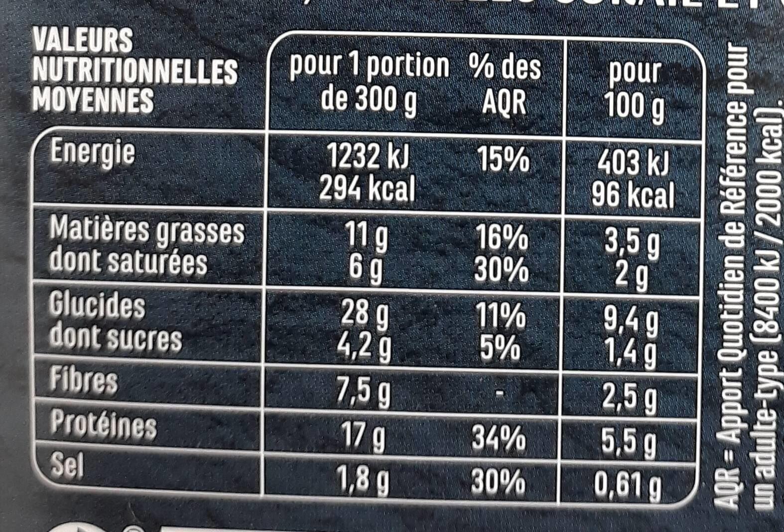 VEGGIE et gourmand hachis potimarron et champignons - Nutrition facts