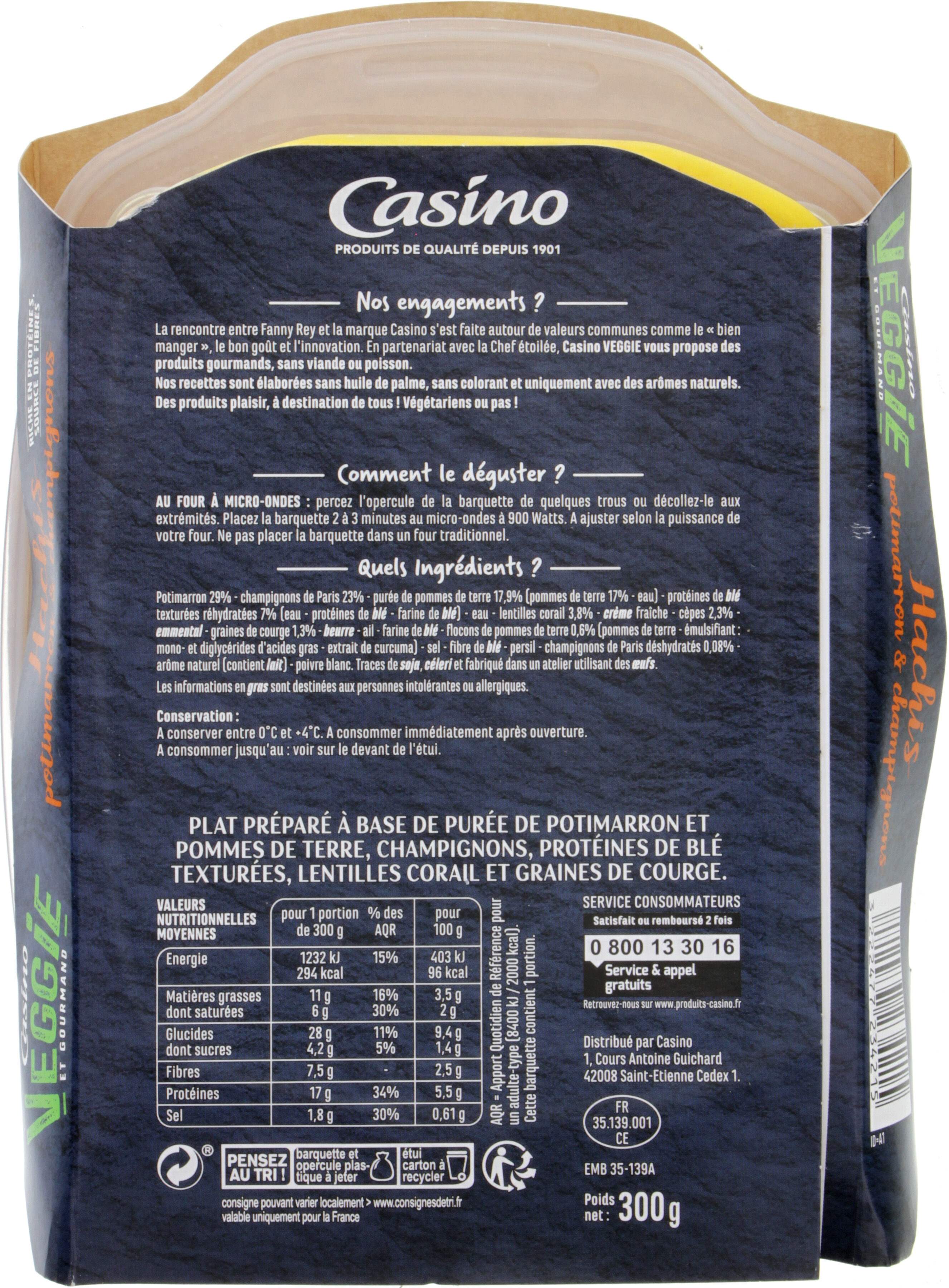 VEGGIE et gourmand hachis potimarron et champignons - Nutrition facts - fr