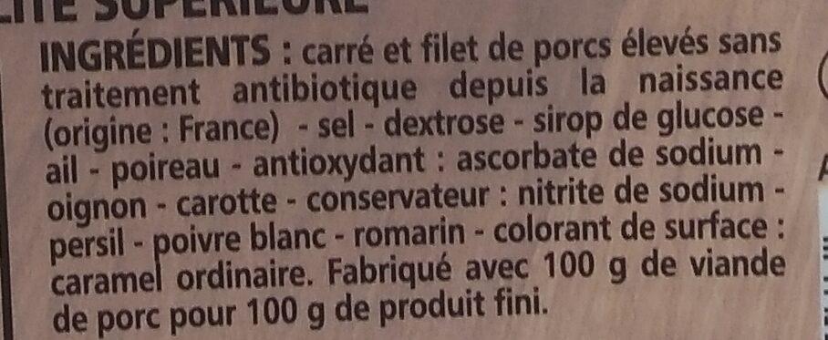 Rôti de porc - porcs élevés sans traitements antibiotiques depuis la naissance (4 tranches) - Ingrédients - fr
