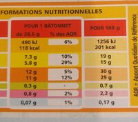 Bâtonnets vanille x10 - Nutrition facts