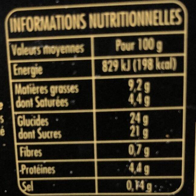 La Fabuleuse crème glacée Pistache Fleur d'oranger Eclats de pistaches caramélisées - Informations nutritionnelles