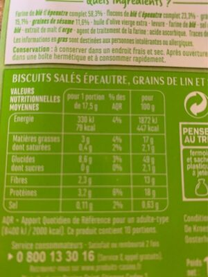 Crackers farine complete - Nutrition facts