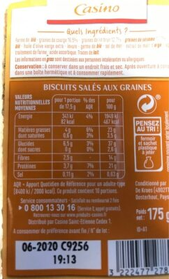 Crackers graines - Nutrition facts