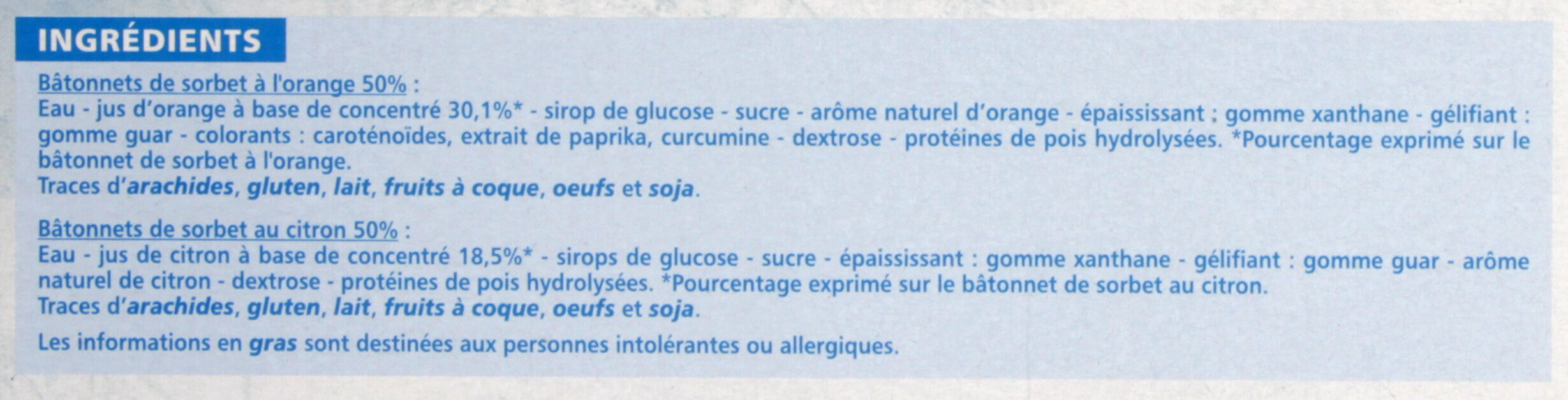 5 orange & 5 citron - Ingredients