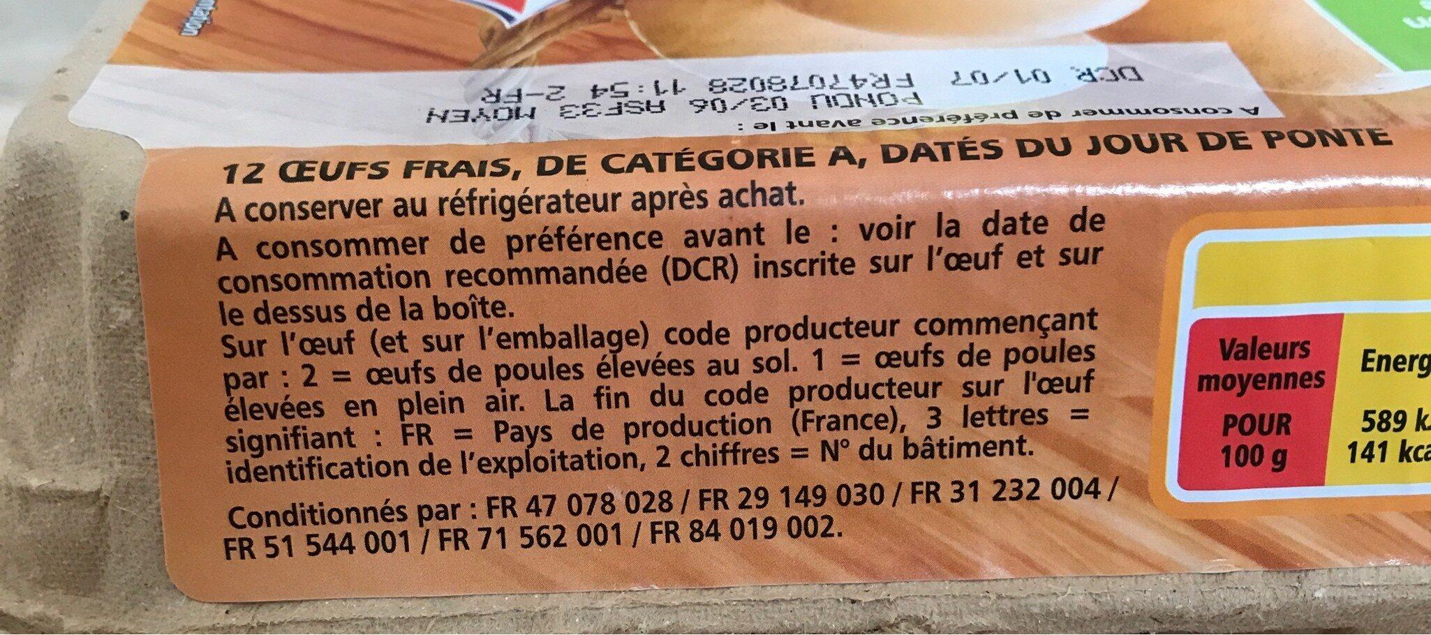 Boite de 12 oeufs casino - Ingredienti - fr