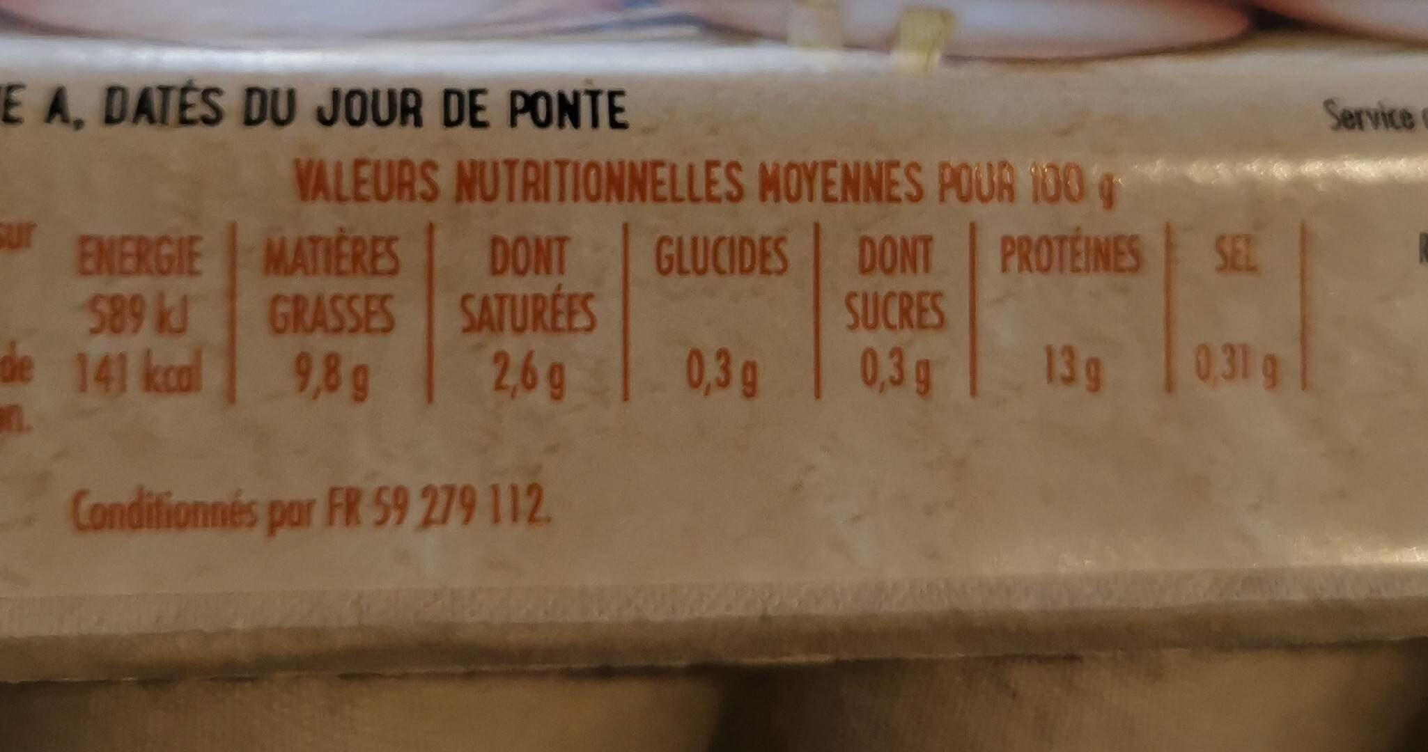 Boite de 12 oeufs casino - Valori nutrizionali - fr