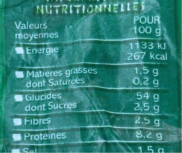 Baguette de campagne biologique - Valori nutrizionali - fr