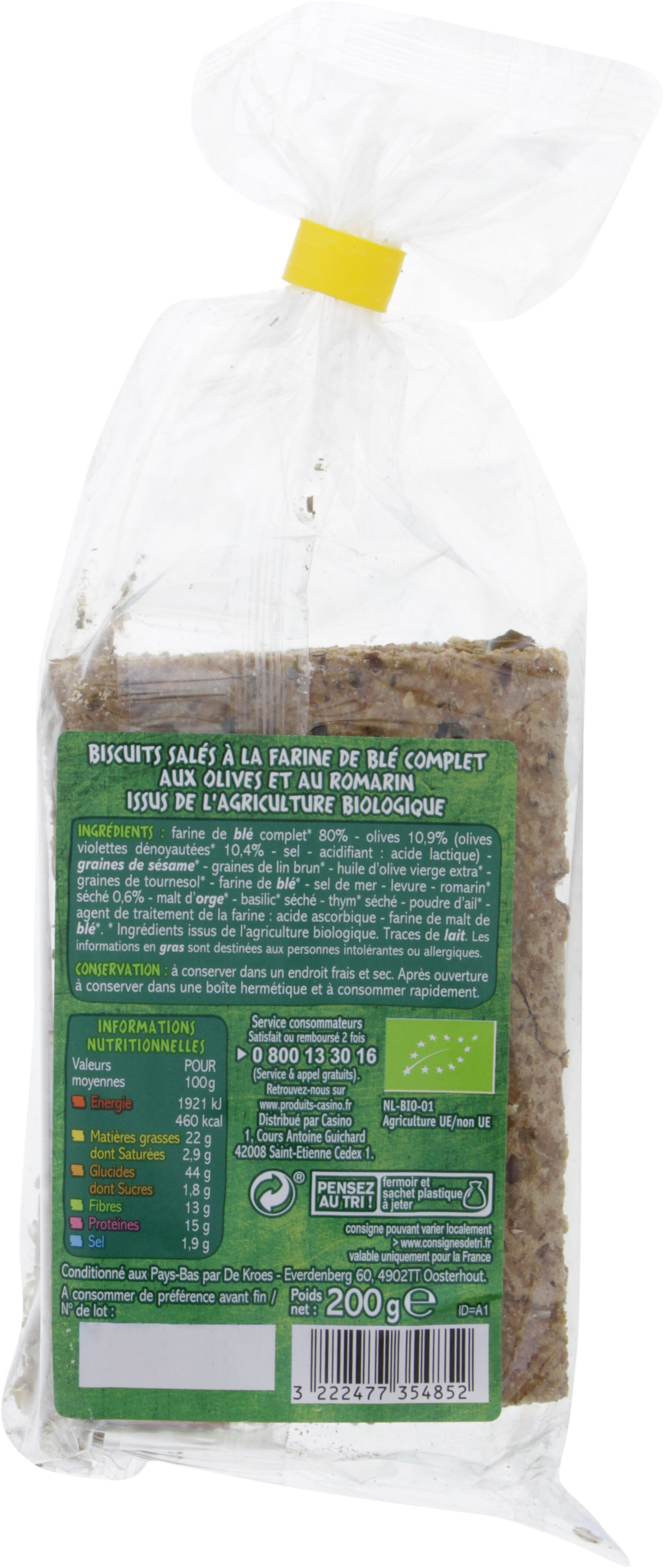 Crackers olive et romarin - Nutrition facts