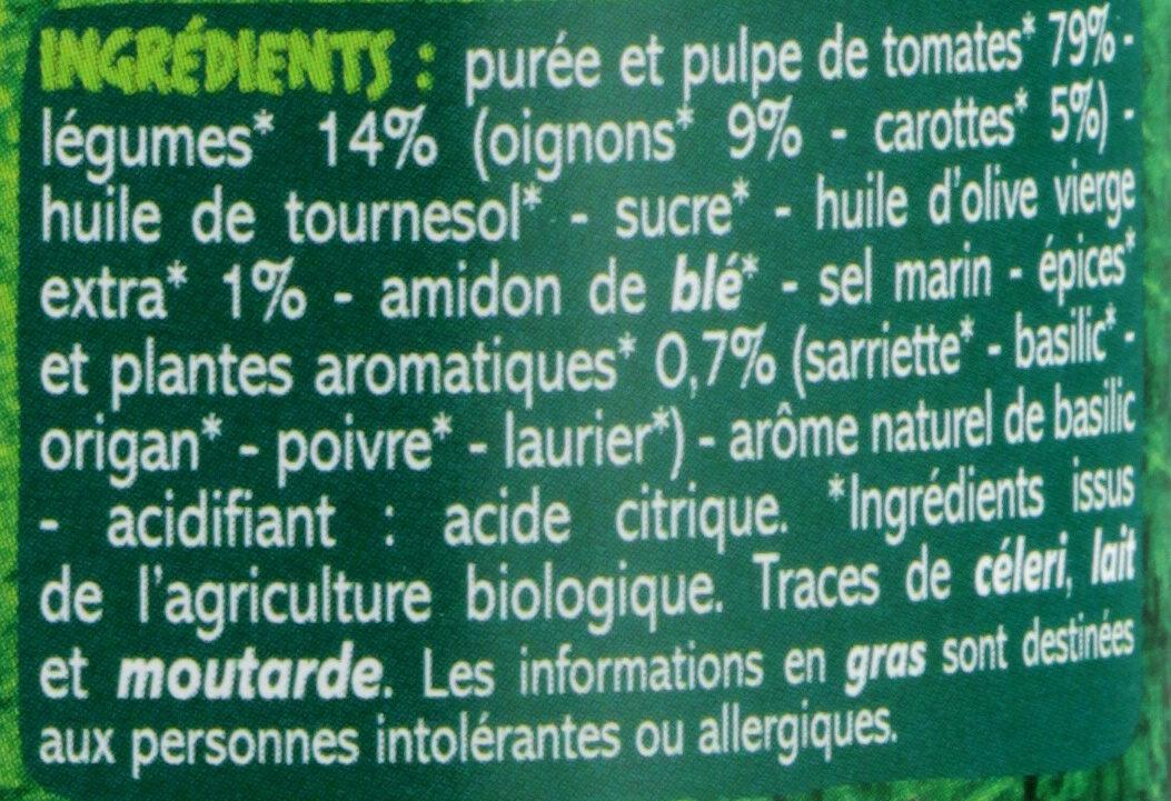 Sauce tomates provençale - Ingredients