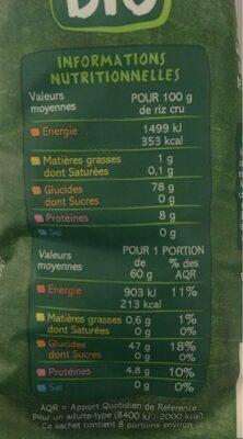 Riz Thai - Valori nutrizionali - fr