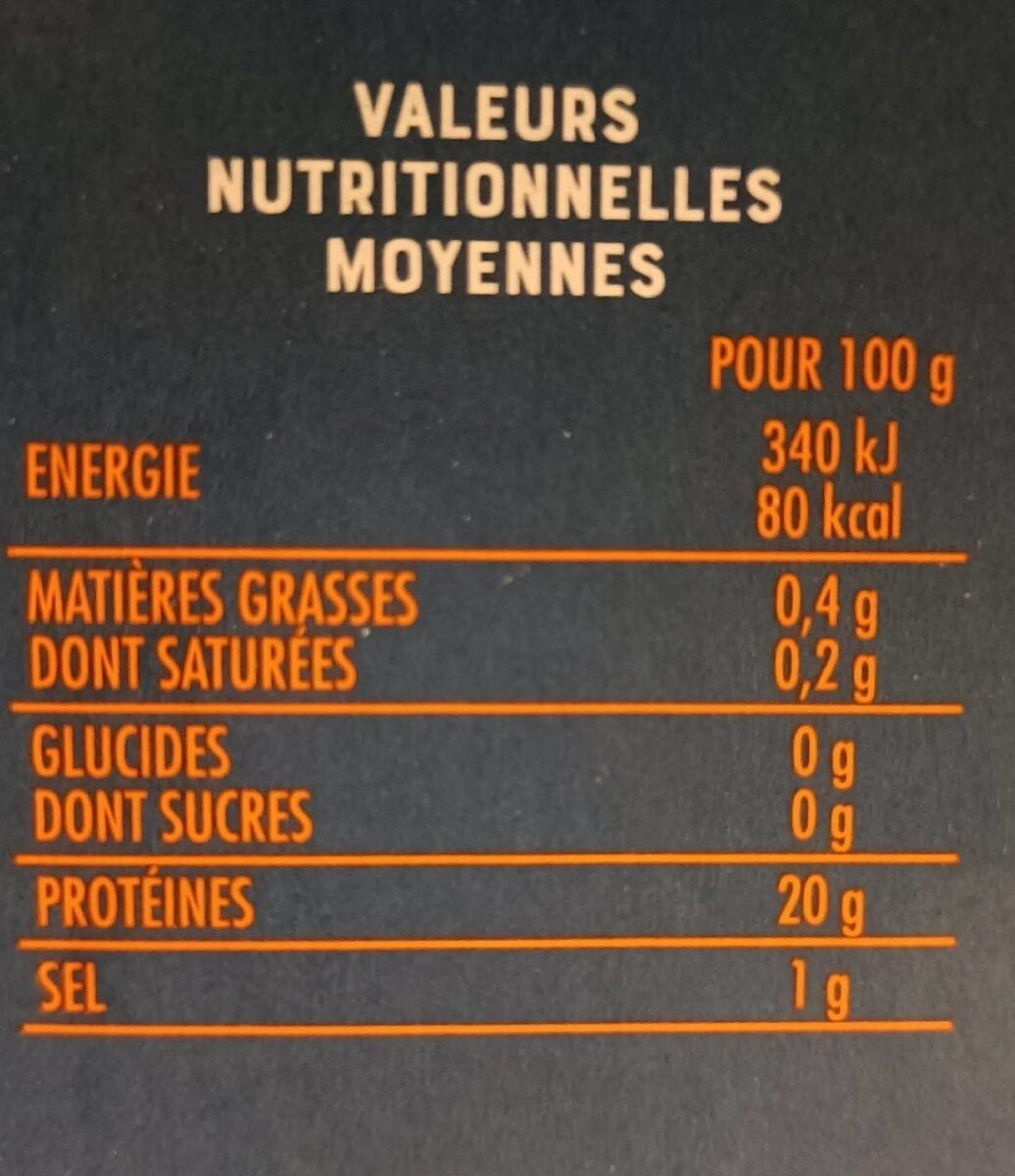 queues de crevette sauvages cuites surgelées - Informations nutritionnelles - fr