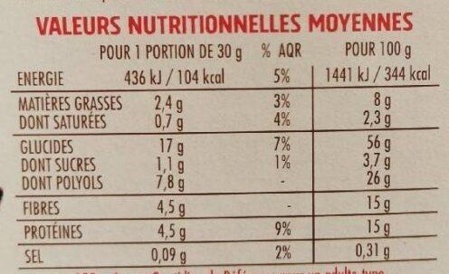 Barres son d'avoine et chocolat casino - Voedingswaarden - fr