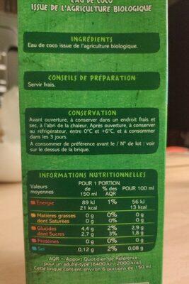 Eau de coco - Informations nutritionnelles - fr
