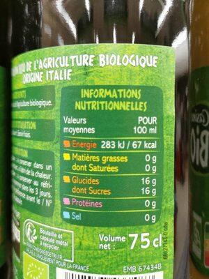 100% pour jus raisin d'italie - Valori nutrizionali - fr
