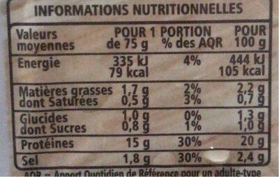 Râpé de poulet - Informations nutritionnelles - fr