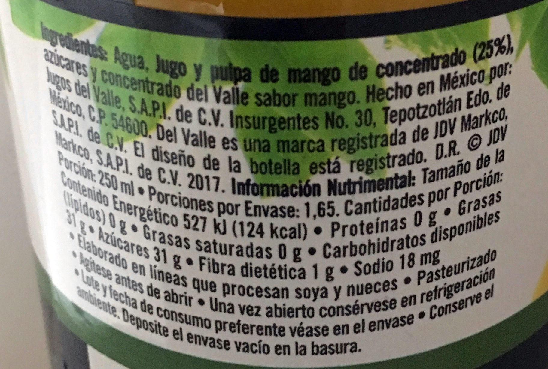 Del Valle Nectar de Mango - Ingredientes - es