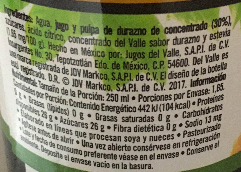 Del Valle Nectar de Durazno - Ingredientes - es