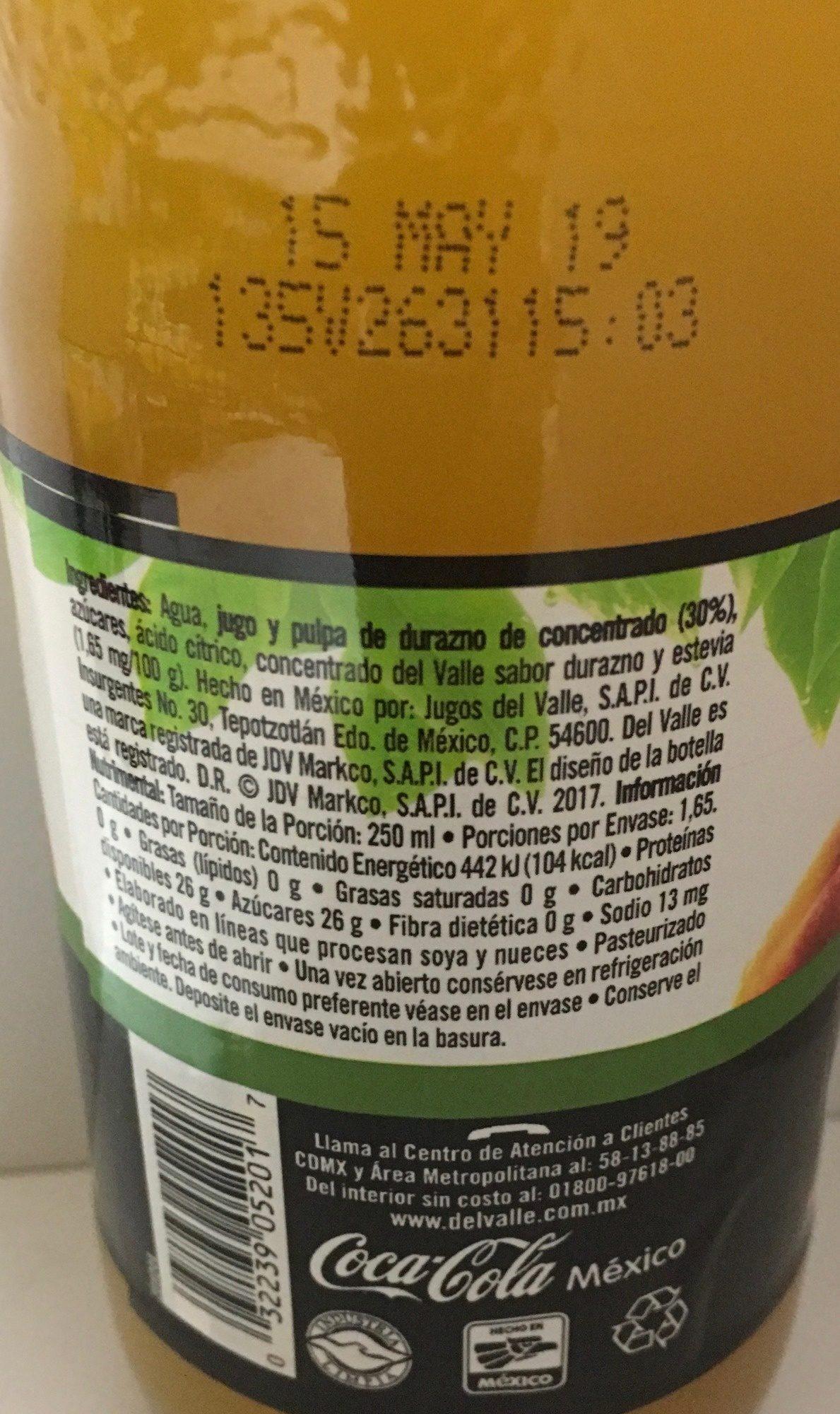 Del Valle Nectar de Durazno - Información nutricional - es