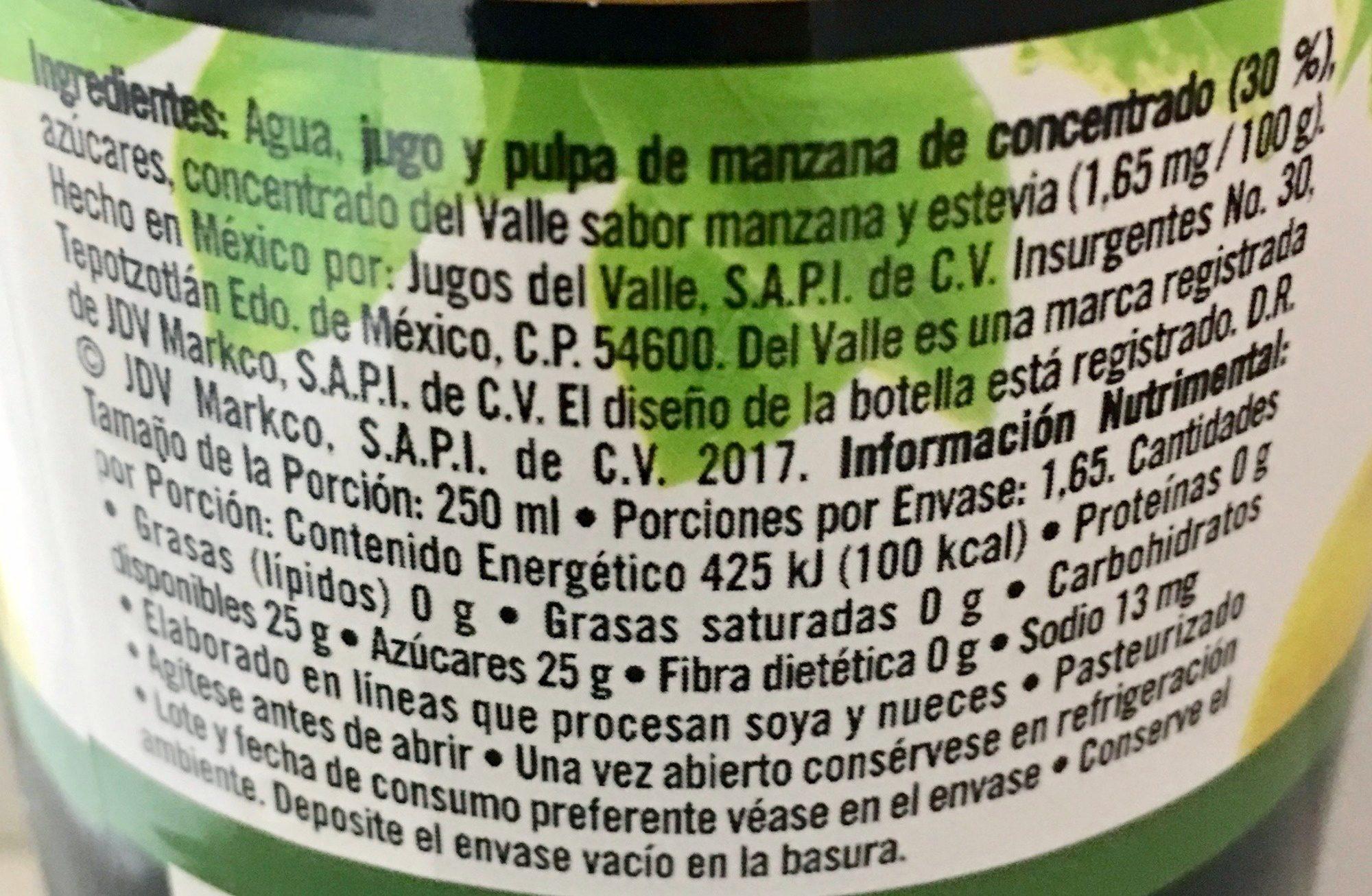 Del Valle Nectar de Manzana - Ingredientes - es