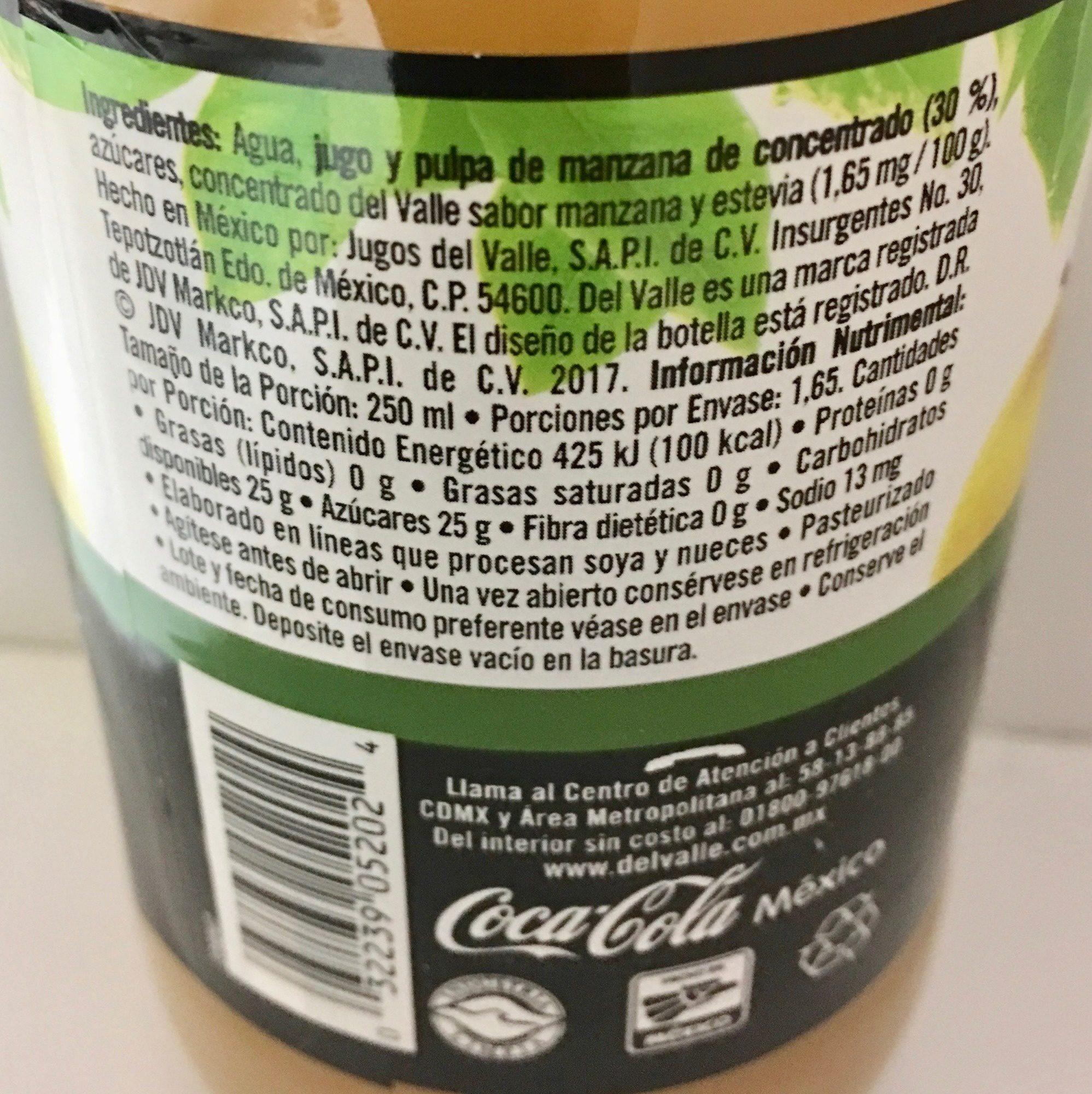 Del Valle Nectar de Manzana - Información nutricional - es