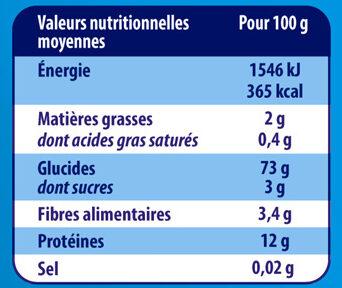 Couscous Grain Fin - Nutrition facts - fr
