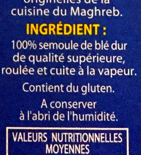 Graine de couscous moyenne - Ingrédients - fr