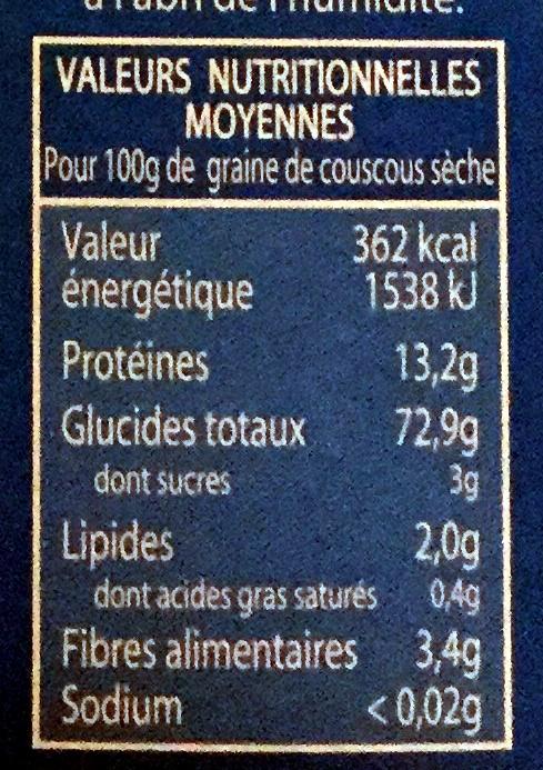 Graine de couscous moyenne - Informations nutritionnelles - fr