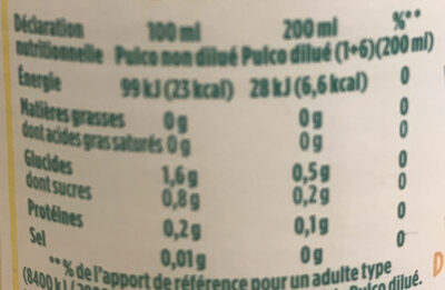 pulco citron - Nutrition facts - fr
