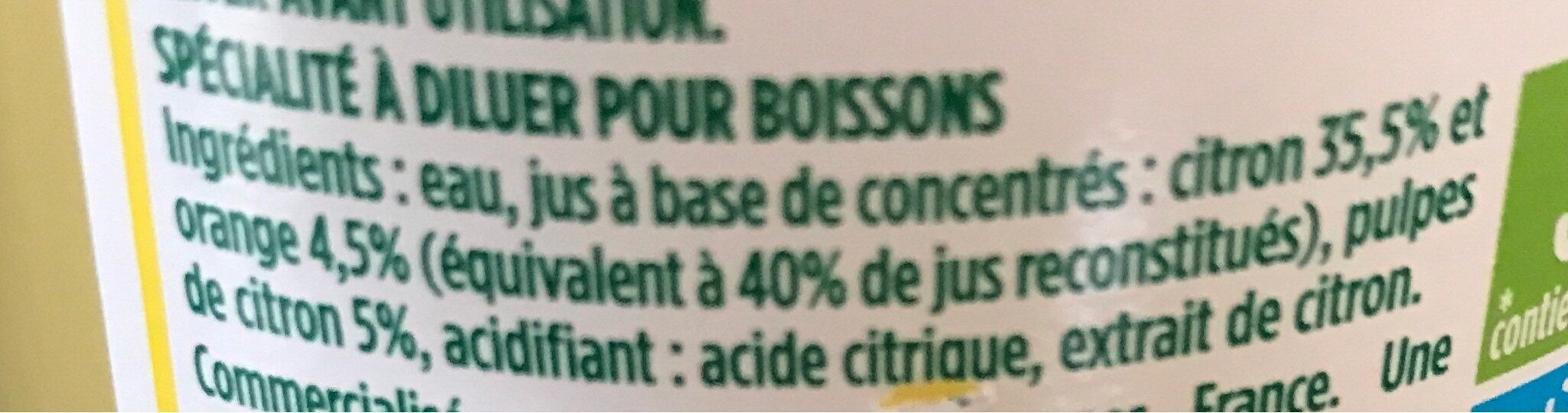 Citron à diluer - Ingrediënten - fr