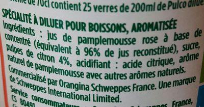 Pulco Pamplemousse à diluer - Ingrediënten