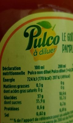 Pulco Pamplemousse à diluer - Voedingswaarden