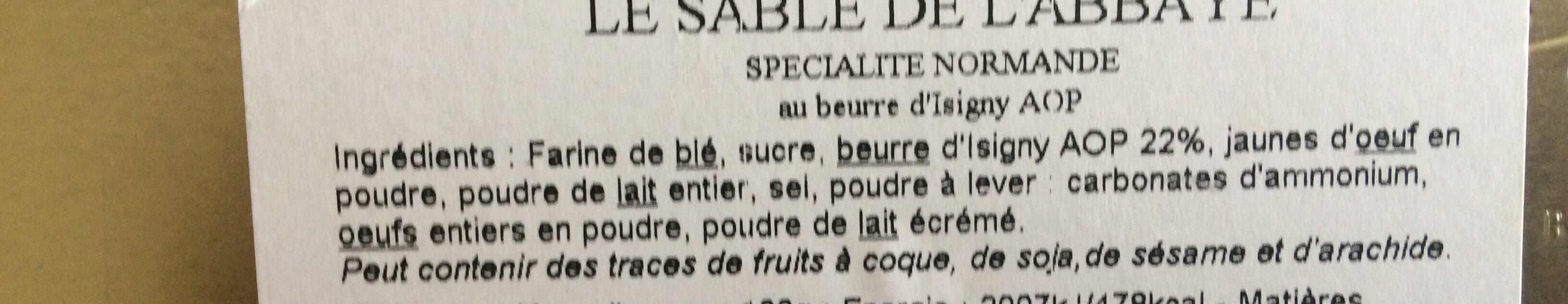 Le Sablé De L'abbaye - Ingrédients - fr