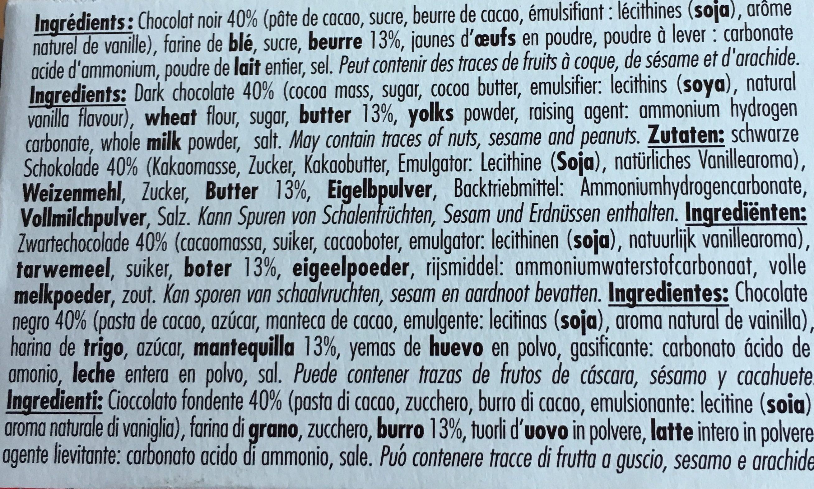 150G Chocoladises Noir Biscuiterie De L'abbaye - Ingrédients - fr