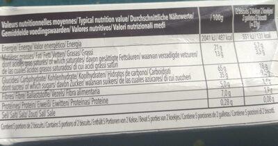 150G Chocoladises Noir Biscuiterie De L'abbaye - Informations nutritionnelles - fr