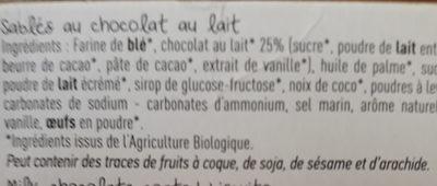 Sablé au chocolat au lait BIO - Ingrediënten