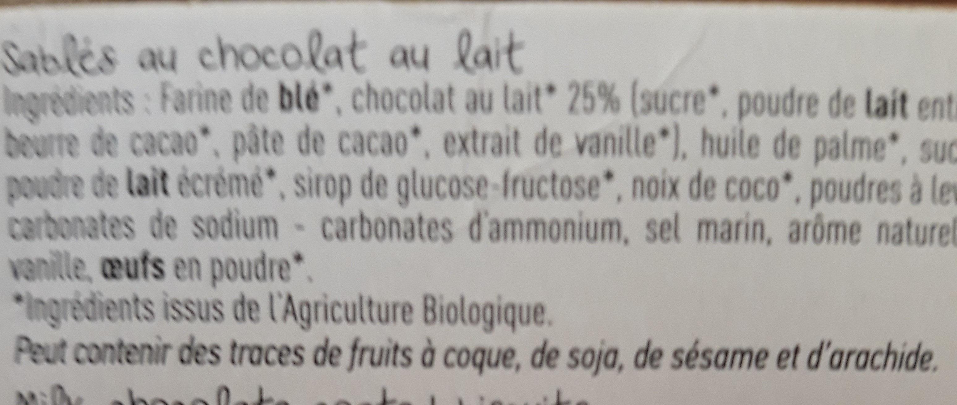 Biscuits nappés de chocolat lait - Ingrediënten - fr