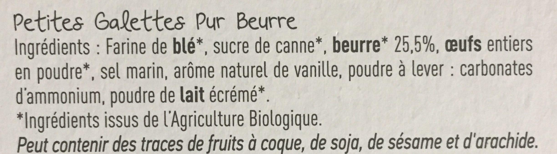 Petites galettes pur beurre bio - Ingrediënten - fr